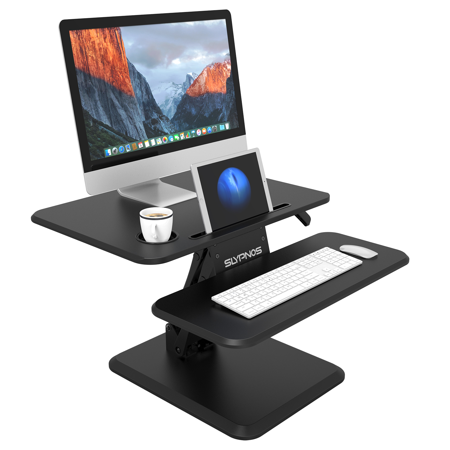 Manual Adjustable Standing Desk Converter Riser Gas Spring Arm Keyboard Mouse Deck Cup Holder Office Home Computer Lift Table