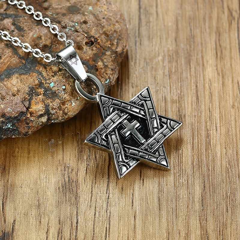 Megan gwiazda dawida z krzyż naszyjnik mężczyźni wisiorek ze stali nierdzewnej srebrny kolor Punk biżuteria żydowska