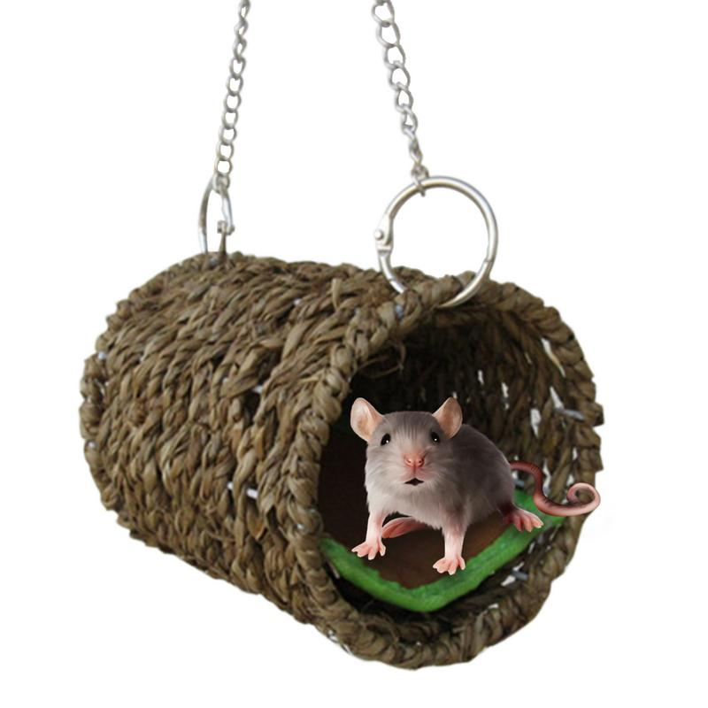 Grass Tunnel Hamster Hammock With Mat For Small Animals, Tunnel Tube Rat Ferret Toy, Small Pet Warm Hammock For Mice Cavia
