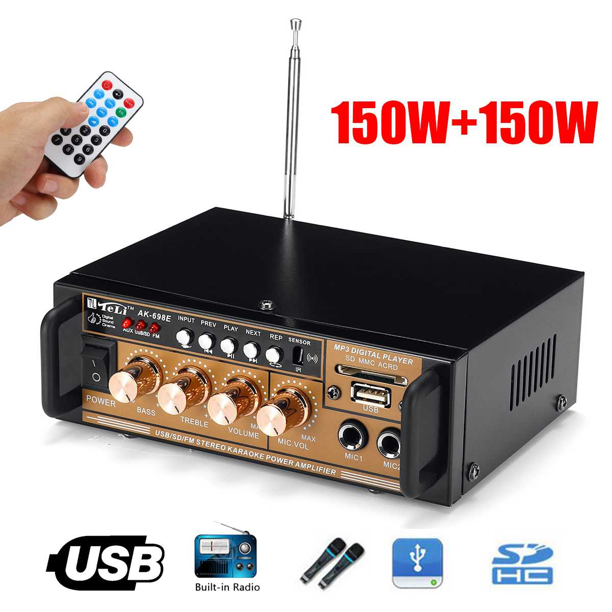 Portable 12V/ 220V 300W 2 Channel HIFI Audio Amplifier Mini Stereo Power Car Home Theater Amplifier FM Radio USB/TF Music Player