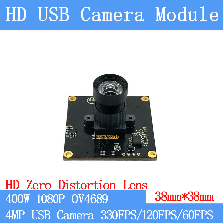 Non Distorsion 330FPS/120FPS/60FPS USB caméra de Surveillance 4MP OV4689 Full HD 1080 P Webcam UVC module de caméra USB
