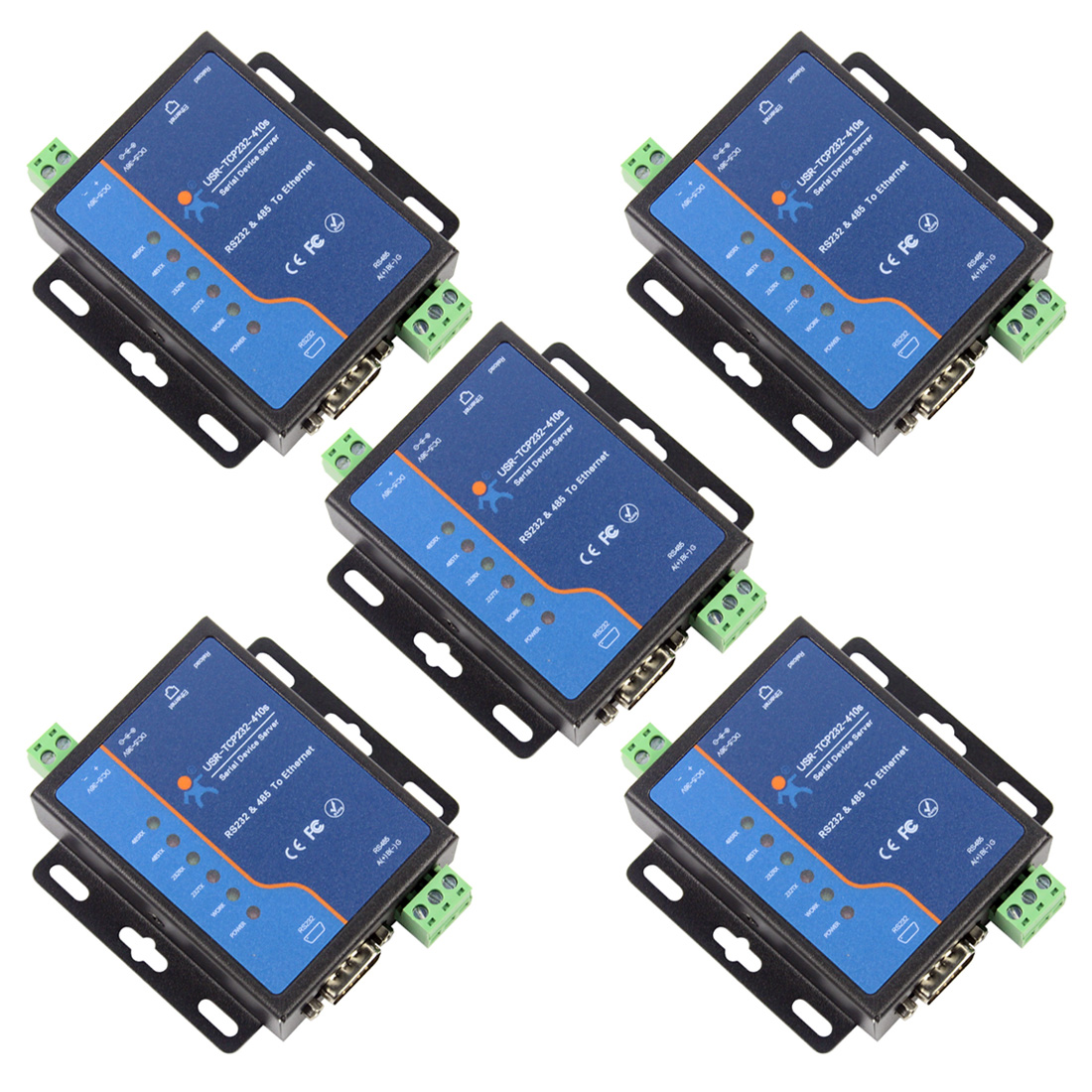 Q18039-5 5PCS USR-TCP232-410S Terminal Power Supply RS232 RS485 To TCP/IP Converter Serial Ethernet Serial Device Server