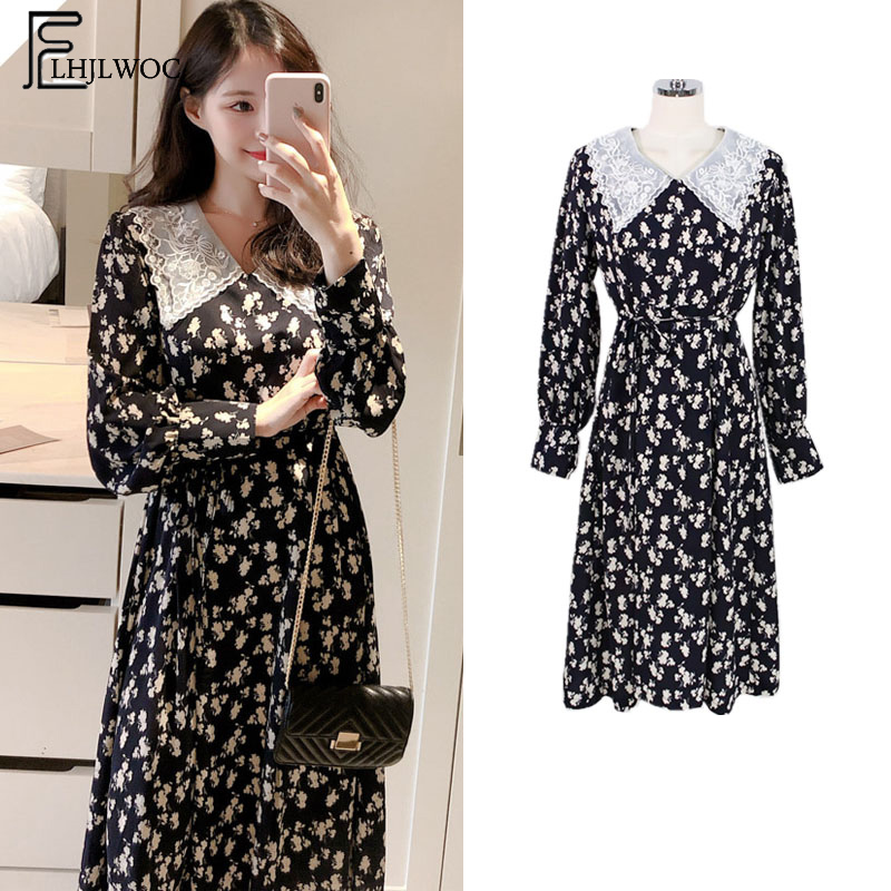 2019 Spring New Dresses Hot Women Preppy Style Long Sleeve Casual Cute Sweet Girls Pater Pan Collar White Lace Vintage Dress Платье