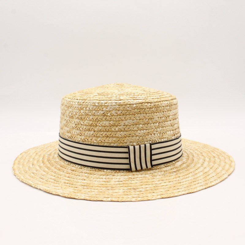 2018 Women Natural Wheat Straw Hat Ribbon Tie 10cm Brim Boater Hat Derby Beach Sun Hat Cap Lady Summer Wide Brim UV Protect Hats