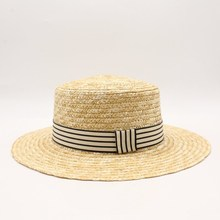 2018 Women Natural Wheat Straw Hat Ribbon Tie 10cm Brim Boater Hat Derby Beach Sun Hat Cap Lady Summer Wide Brim UV Protect Hats
