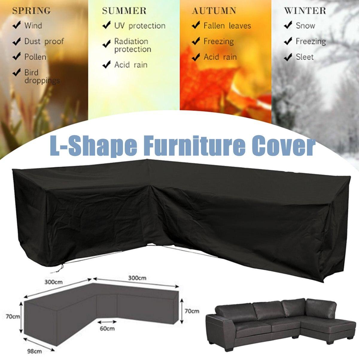 Housse de canapé extérieure d'angle en forme de L imperméable 3 M x 3 M en rotin Patio meubles de jardin housse de protection couvre poussière tout usage