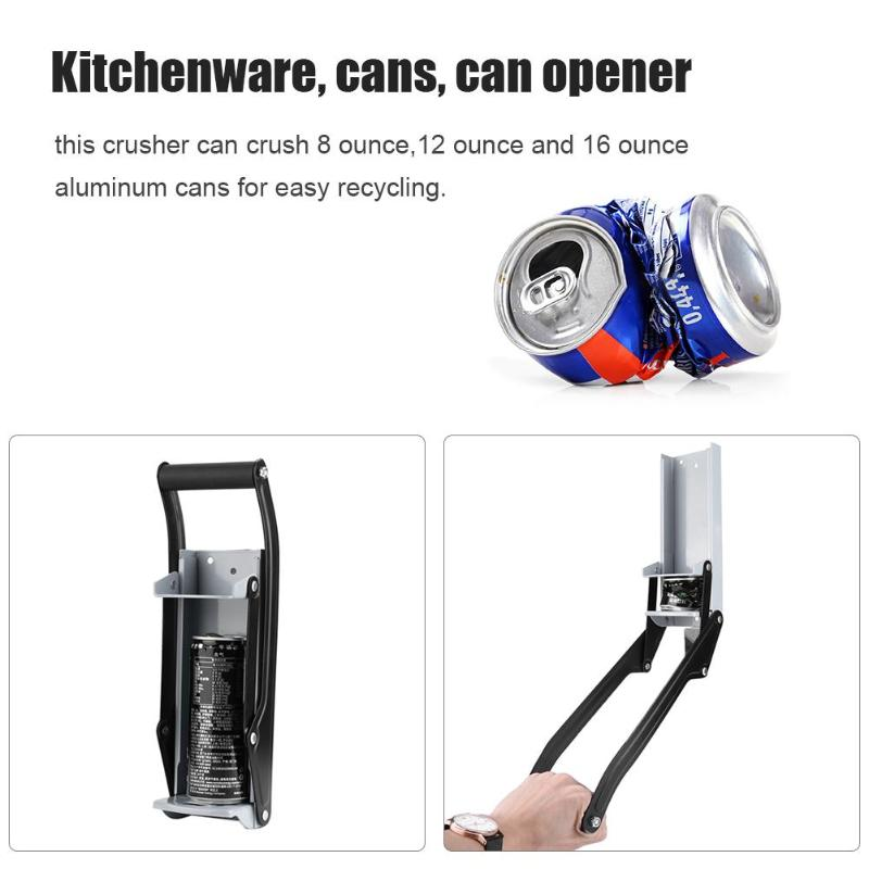 16oz Wall Mounted Hand Push Beer Soda Cans Bottle Opener Iron Can Crusher Iron Bottle Crushing Recycling Tool Kitchen Gadgets