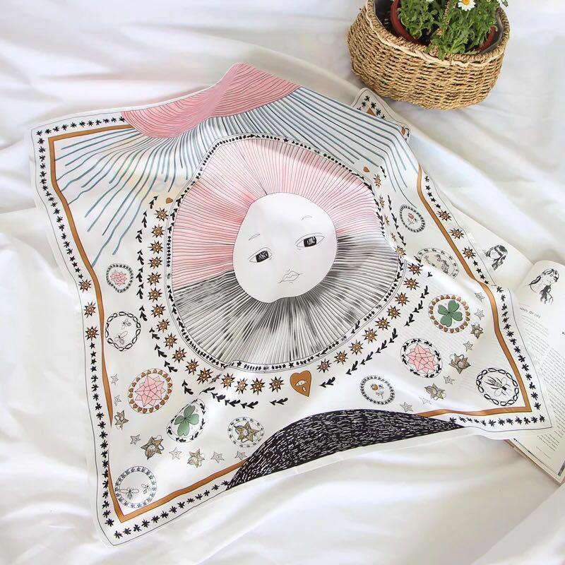 Tarot Series New Design 4Colors Fashion Print Bandana Square Scarf For Ladies Silk Handkerchief Women's Bag Scarf (Size:70*70cm)