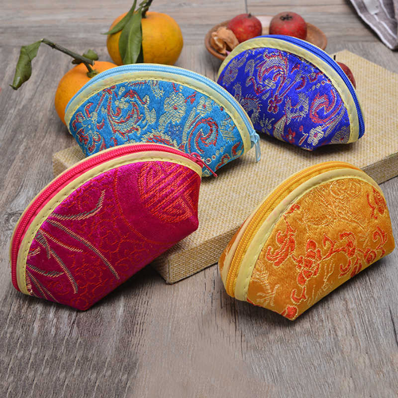 Storage Bag 1PC Wallet Shell Shaped Mini Cute Small Silk Brocade Coin Purse Candy Bag Gift Pouch Zipper Bag Jewelry Women