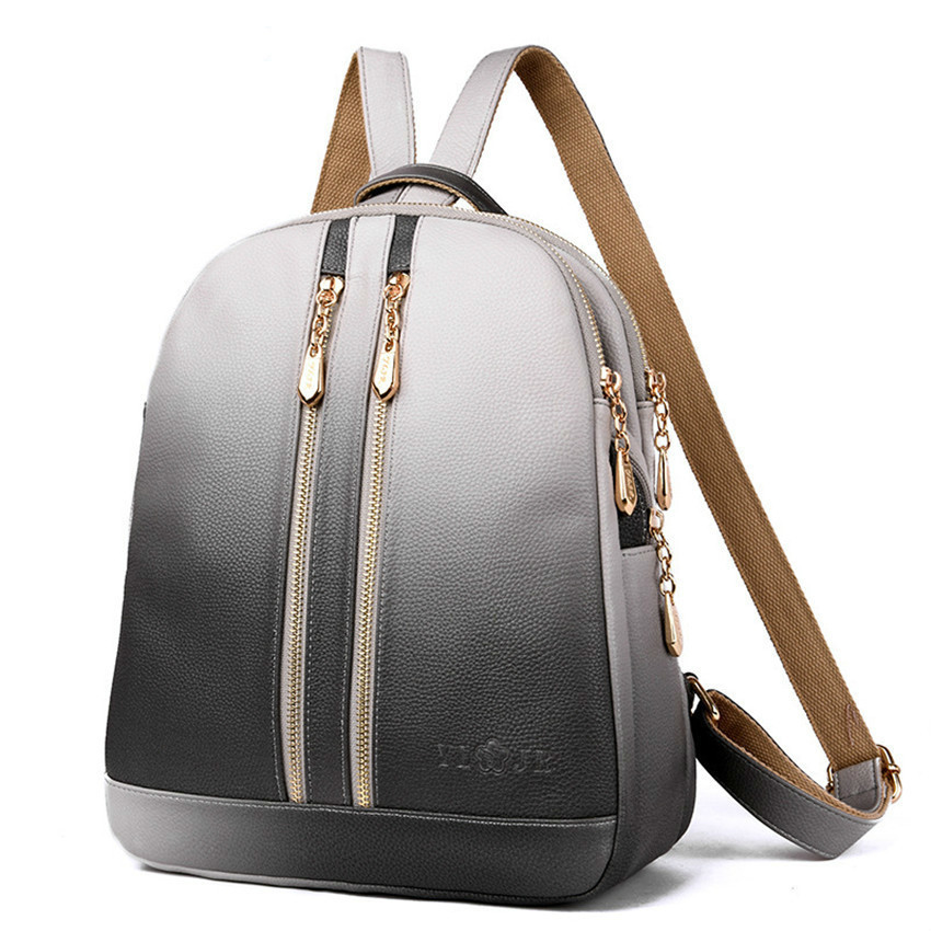 Oyixinger 2019 Gradient Ramp Bagpack Fashion Both Shoulders Woman Multi function Anti theft Leather Backpack Women