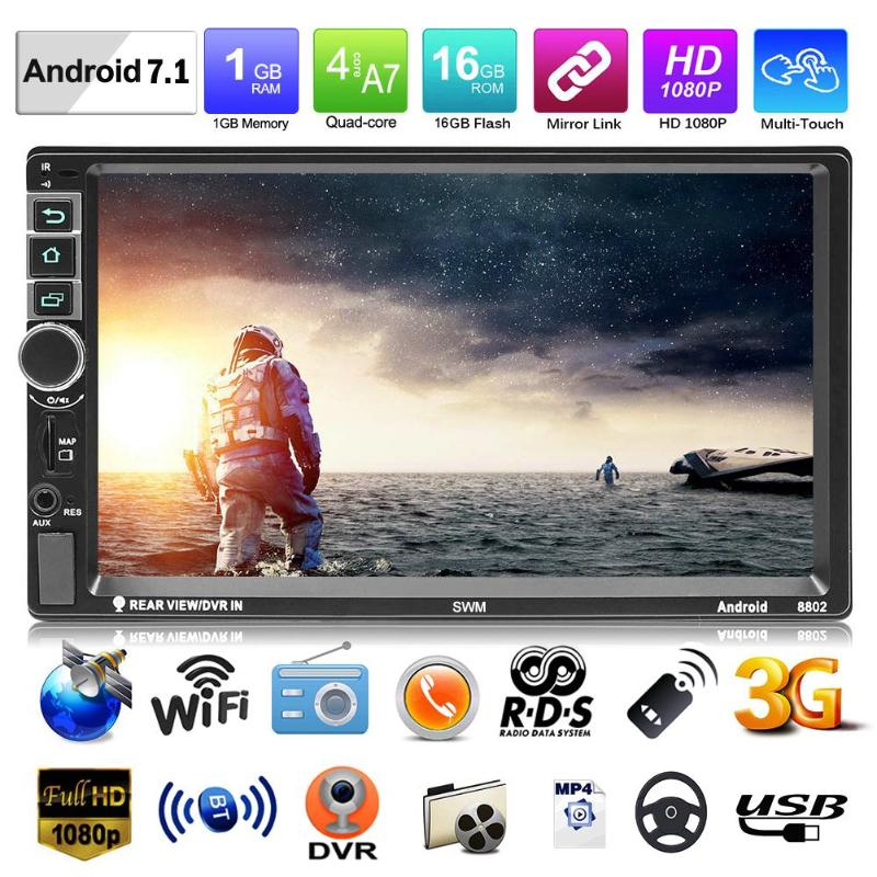 SWM 8802 Upgraded Version 2din 7in Android 7.1 Car Video MP5 Player GPS FM Bluetooth Rear View Auto Radio Player w/ Camera WiFiSWM 8802 Upgraded Version 2din 7in Android 7.1 Car Video MP5 Player GPS FM Bluetooth Rear View Auto Radio Player w/ Camera WiFi