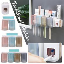 Free Shipping Fashion Automatic Toothpaste Dispenser Plus Toothbrush Holder Set Family Set Bathroom Wall Mount Rack Wholesale
