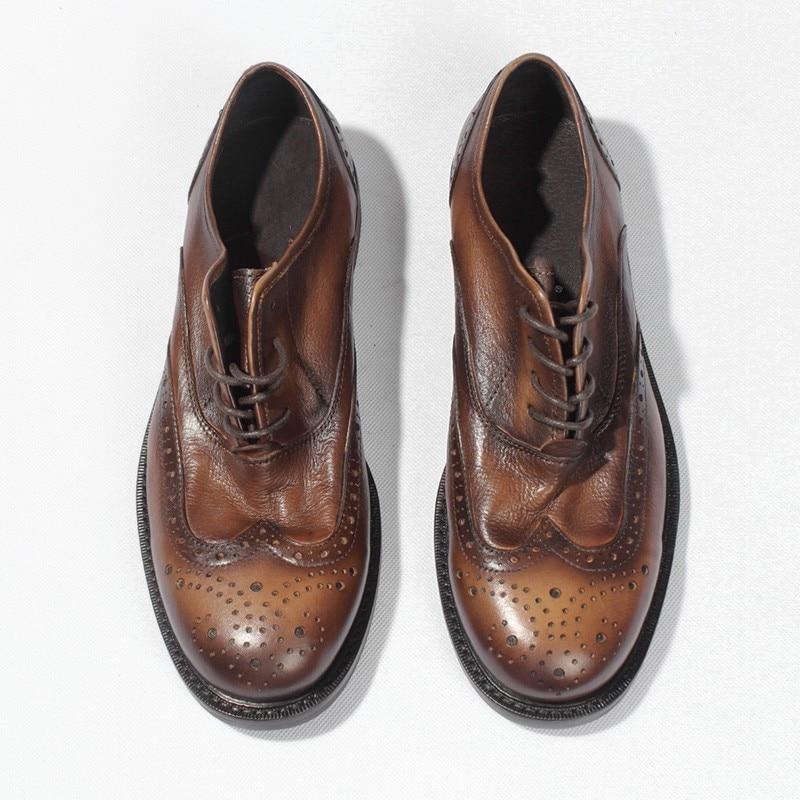 Cuero Vaca Genuino Estilo Los Hombres Brogue A Ocio Transpirable Tallada  Tallado Vintage Zapatos De Mano Hechos w7x14qET7 f5f06c460c20