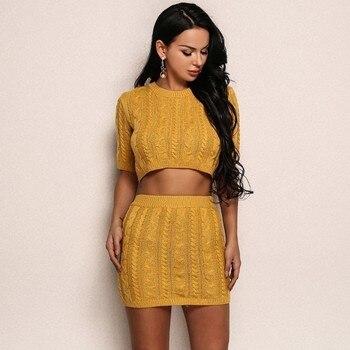 Pfflook женский желтый осенний вязаный свитер комплект из двух