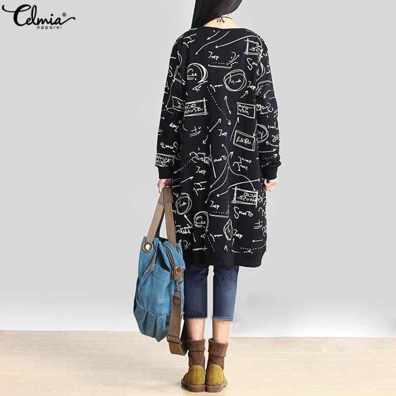 Celmia 2019 ผู้หญิงฤดูใบไม้ร่วงยาว Hoodies สุภาพสตรีเสื้อแขนยาวพิมพ์หลวม Retro ขนาดใหญ่ Hoodie Pullover TOP Mujer PLUS ขนาด