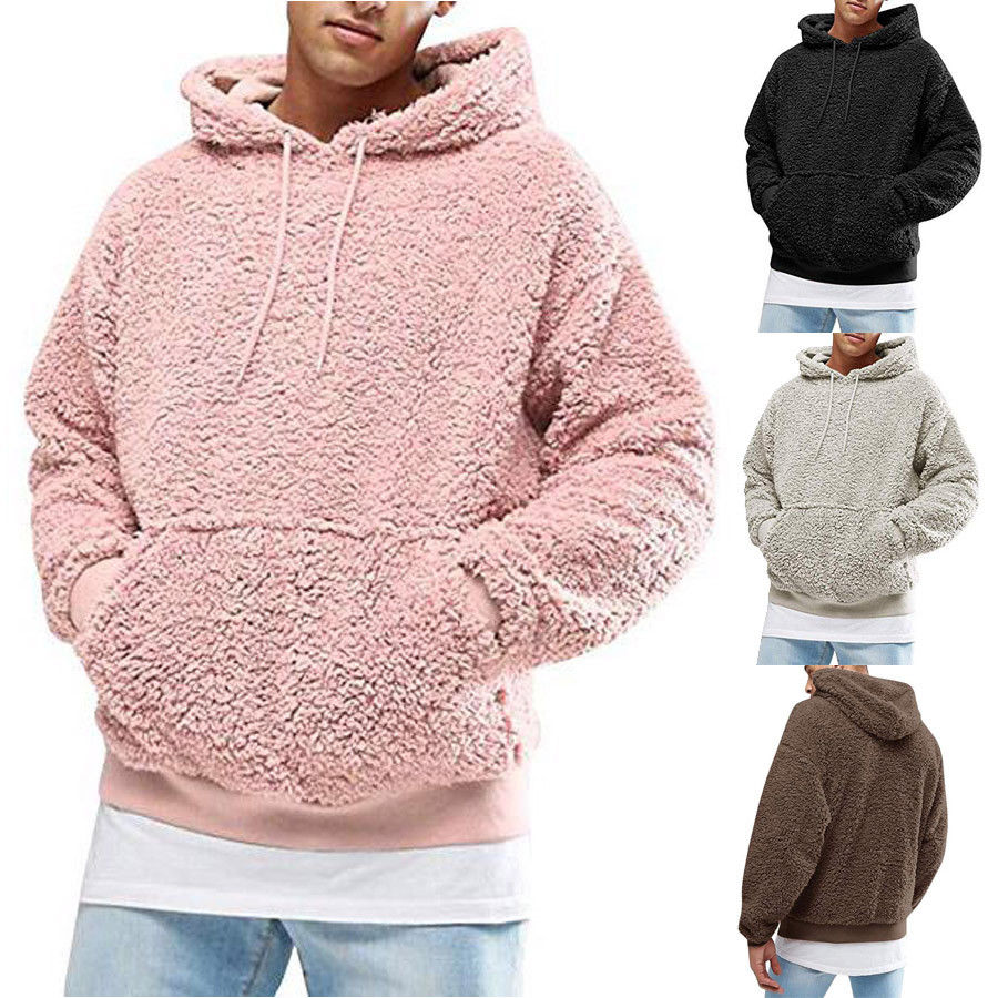 Man Stylish Pure Color Hooded Long Sleeve Pullover A Cat Watching at Rats Hoodie Sweatshirt