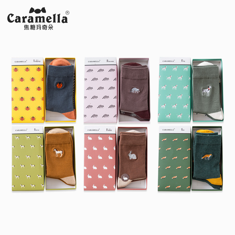 Caramella Autumn And Winter Embroidery Cute Animal Jacquard Striped Crew Socks 3 Pairs/lot Gift Box 531513
