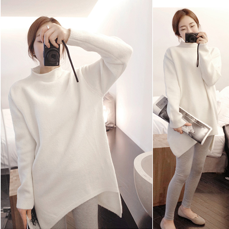 Modal Korean Fashion Thick Autumn Winter Long Sweater Women 2018 Irregularity Half Turtleneck Casual Knitted Sweater Pullover