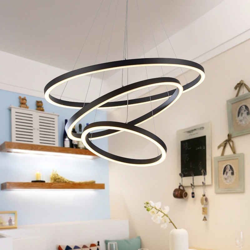 Luxo moderno Lustre de cristal LEVOU Círculo de Luz Para Sala de estar Pendurado Lâmpada Quarto Lustre Restaurante Iluminação Com Controle Remoto
