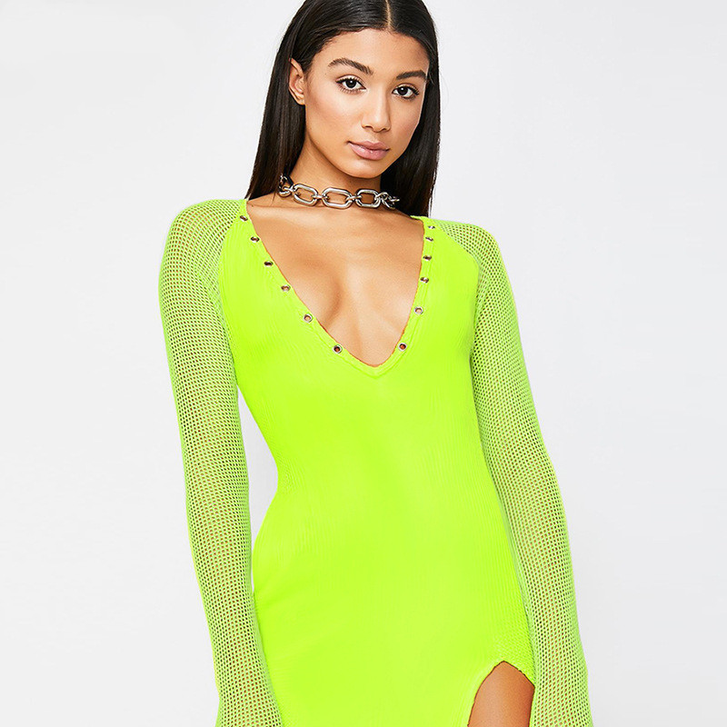Lovely Qianyuer Neon Green V-neck Mesh Long Sleeve Patchwork Split Sexy Dresses 2019 Spring Women Fashion High Waist Club Party Dress Easy To Repair Women's Clothing