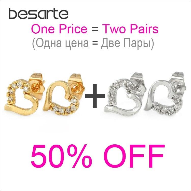 Jewelry & Accessories Stud Earrings Professional Sale Two Pair Cz Heart Stud Earrings Women Oorbel Boucles Doreilles Aro Ohrringe Gold Earings Orecchini Donna Kupe Kolczyki E3059