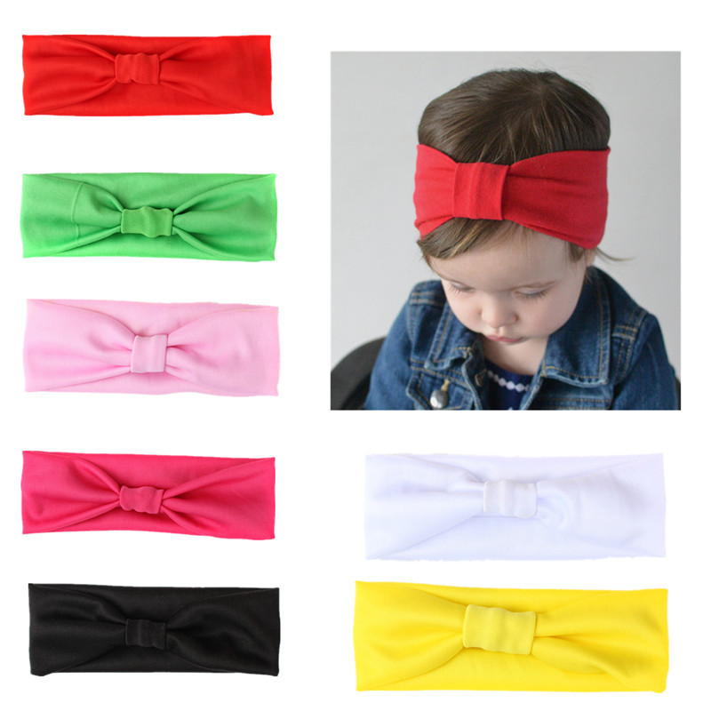 Baby   headwear   Wholesale Candy 7 Color Children's Hairband Europe and America Baby Knotted Scarf Elastic Headbands