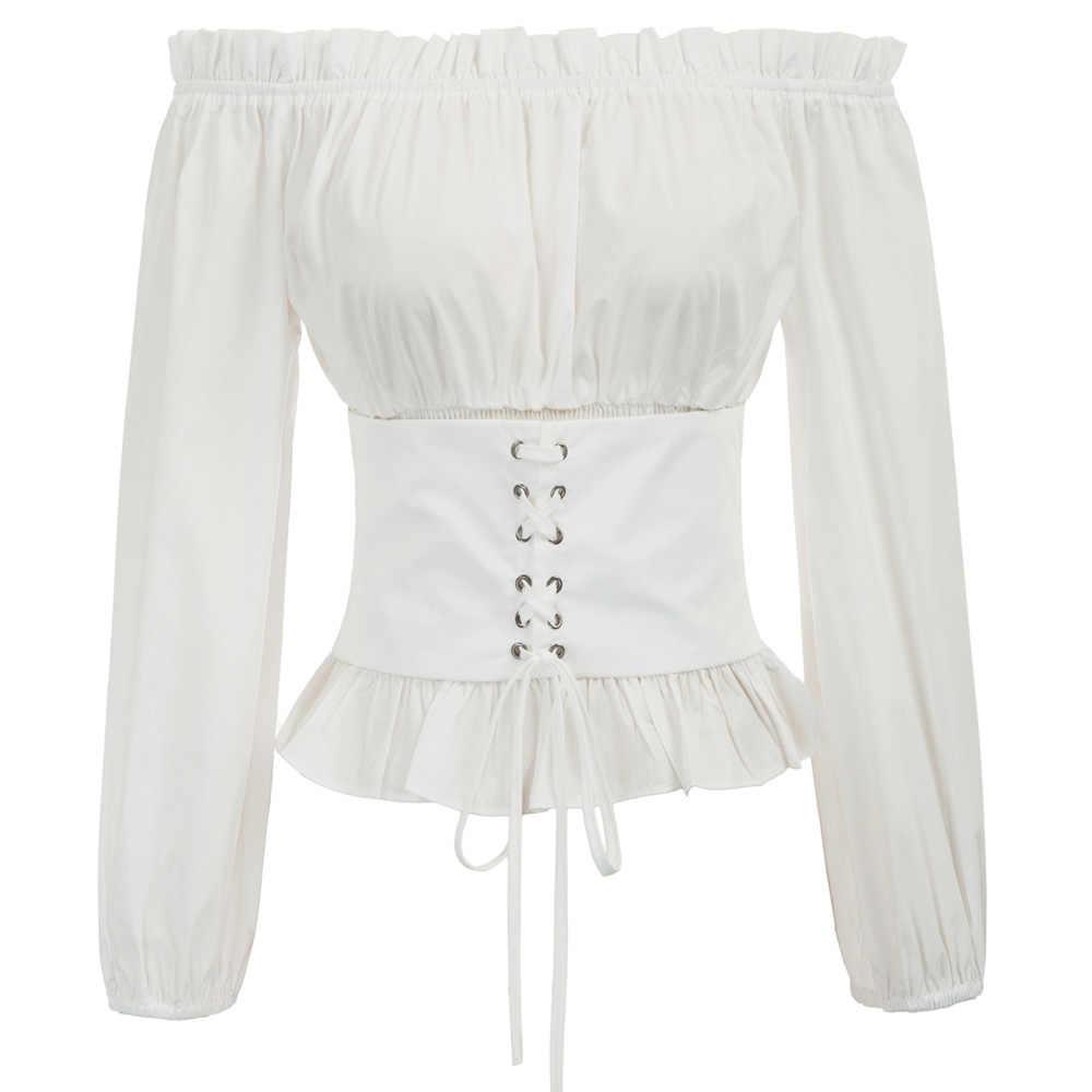 014ec7915f Vintage Women Renaissance Gothic Off-the-Shoulder Corset Style Tops  medieval Retro slim fit
