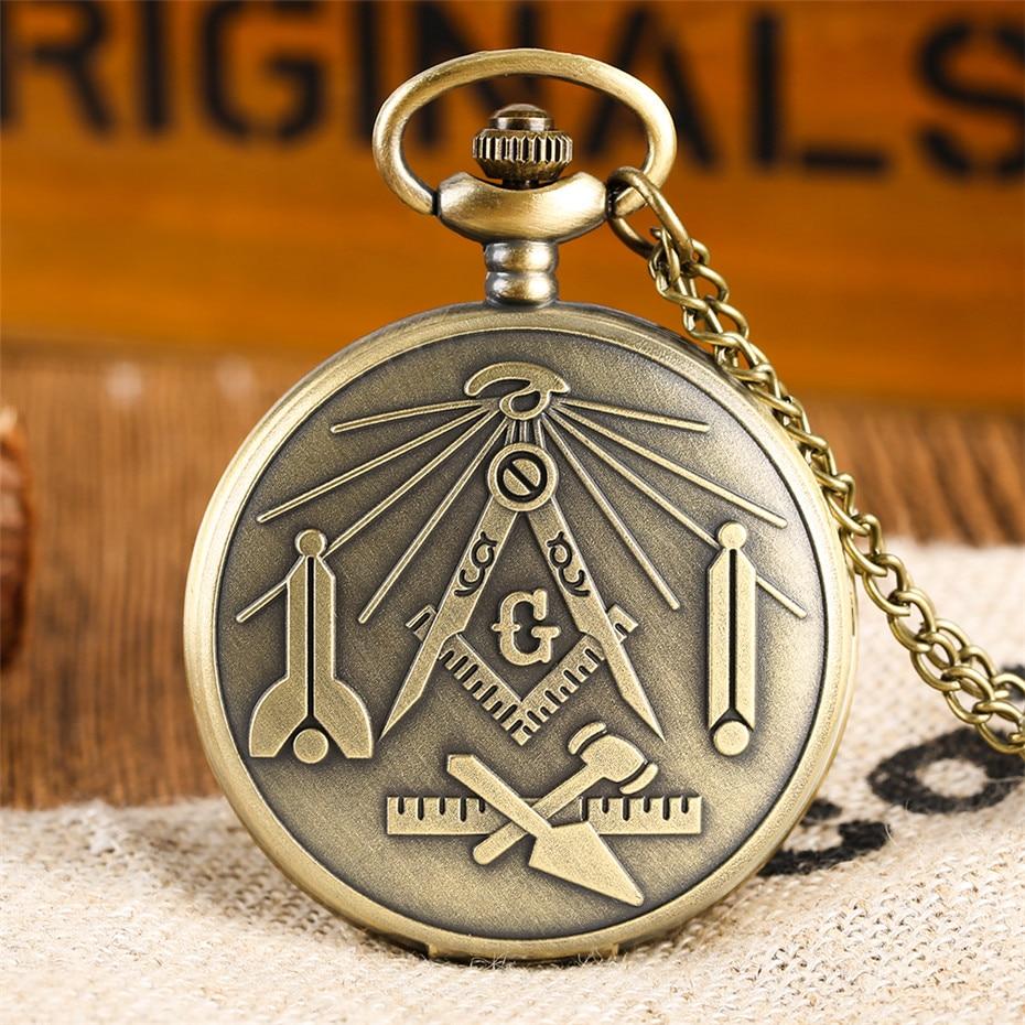Hot Sale Freemasonry Theme Quartz Pocket Watch Mason Souvenir Pendant Clock Gifts For Men Women With Bronze Necklace Chain Reloj