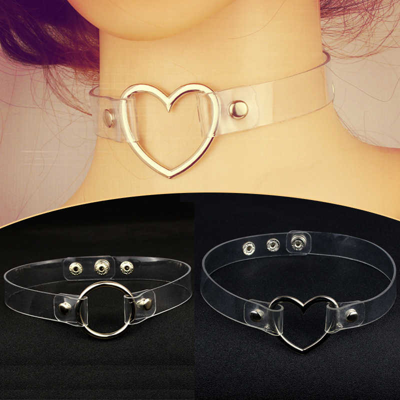 Fashion1PC Valentines Gift Round Choker Necklace Adjustable Circle Clear Metal Party Girls Heart Transparent Collar Necklace
