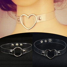 Fashion1PC Valentines Gift Round Choker Necklace Adjustable Circle Clear Metal Party Girls Heart Transparent Collar