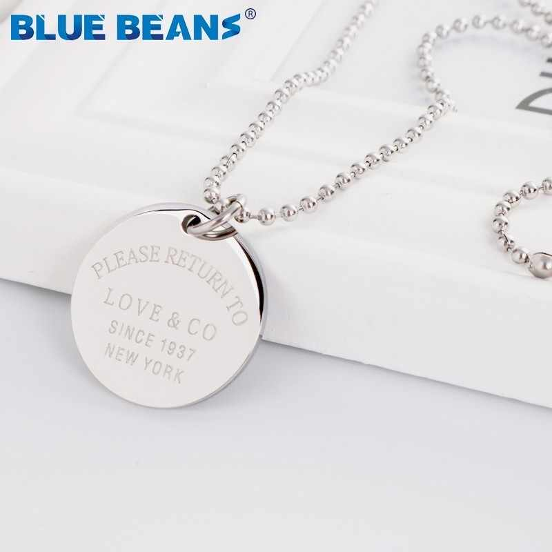 New Stainless Steel Long Necklace For Women Pendants rose gold Silver Color Round Coin Disc Tiff Fashion Jewelry Collares Charm