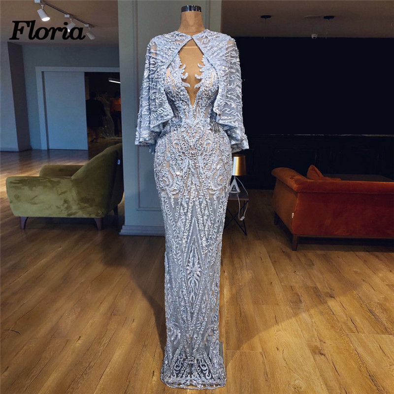 New Aibye Beading Crystal Evening Dresses African Muslim Prom Pageant Dress 2018 gala jurken Robe de soiree abendkleider Gowns