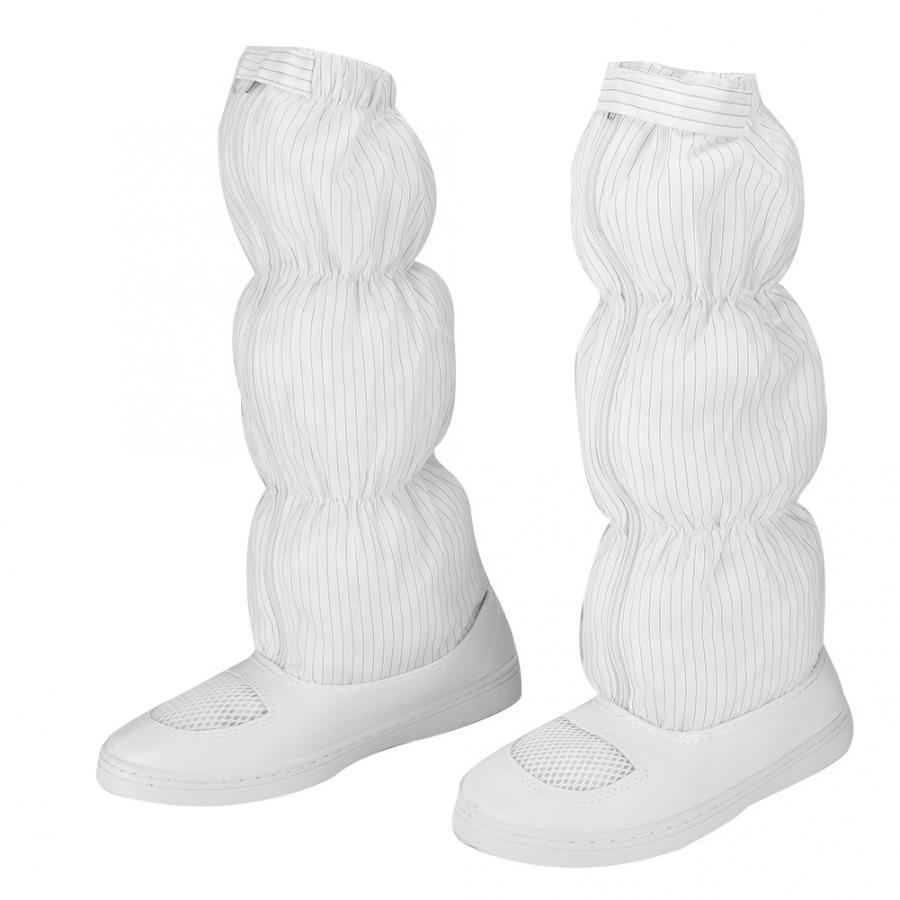 1 Paar Anti-statische Hohe Zylinder Schuhe Esd Hohe Bein Stiefel Anti Statische Nicht Slip Pvc Sohle Esd Staub -freien Reinraum Arbeit Klar Schuhe Reisen
