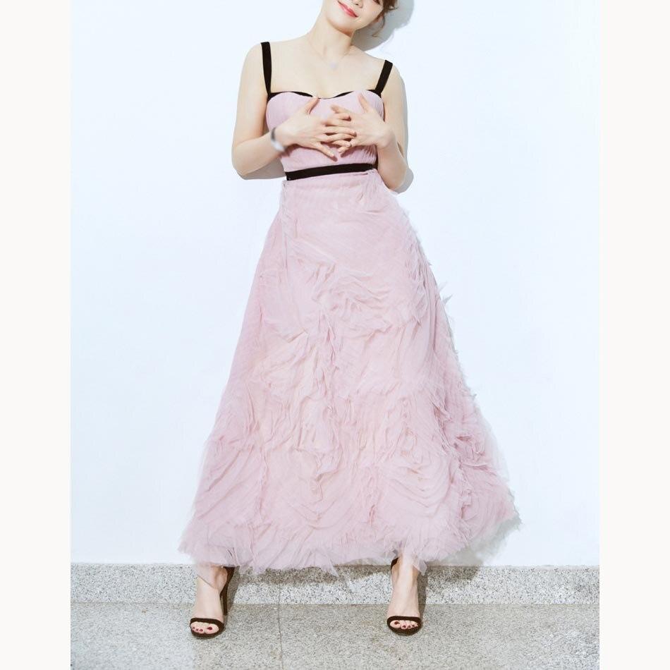 2019 été femmes robe de piste de haute qualité Voile bretelles longue robe élégante rose a-ligne robe de soirée