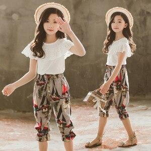 Одежда для девочек, кружевные шорты + штаны с цветочным принтом, костюм из 2 предметов для девочек-подростков, летняя одежда для детей 6, 8, 10, 12,...