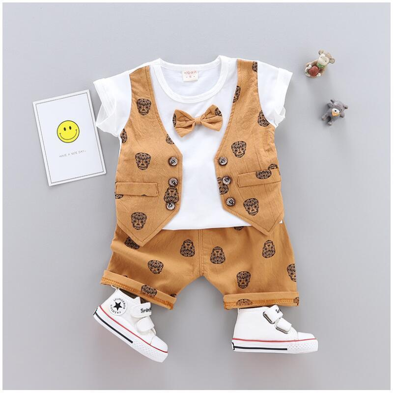 Summer Children Baby Boys Cotton Clothes Kid Bowknot T-Shirt Shorts 2pcs/Sets Toddler Gentleman Clothing Infant Tracksuits