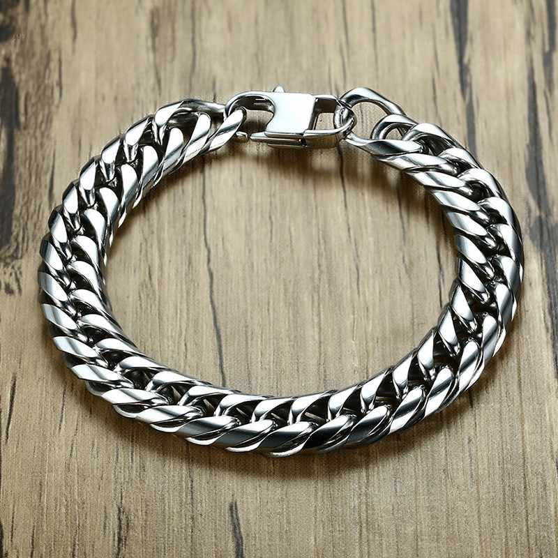 Vnox Mens Link Chain Bracelets Bangles Stainless Steel Wrist Band Hand Chain Male Jewelry Gift Pulseira