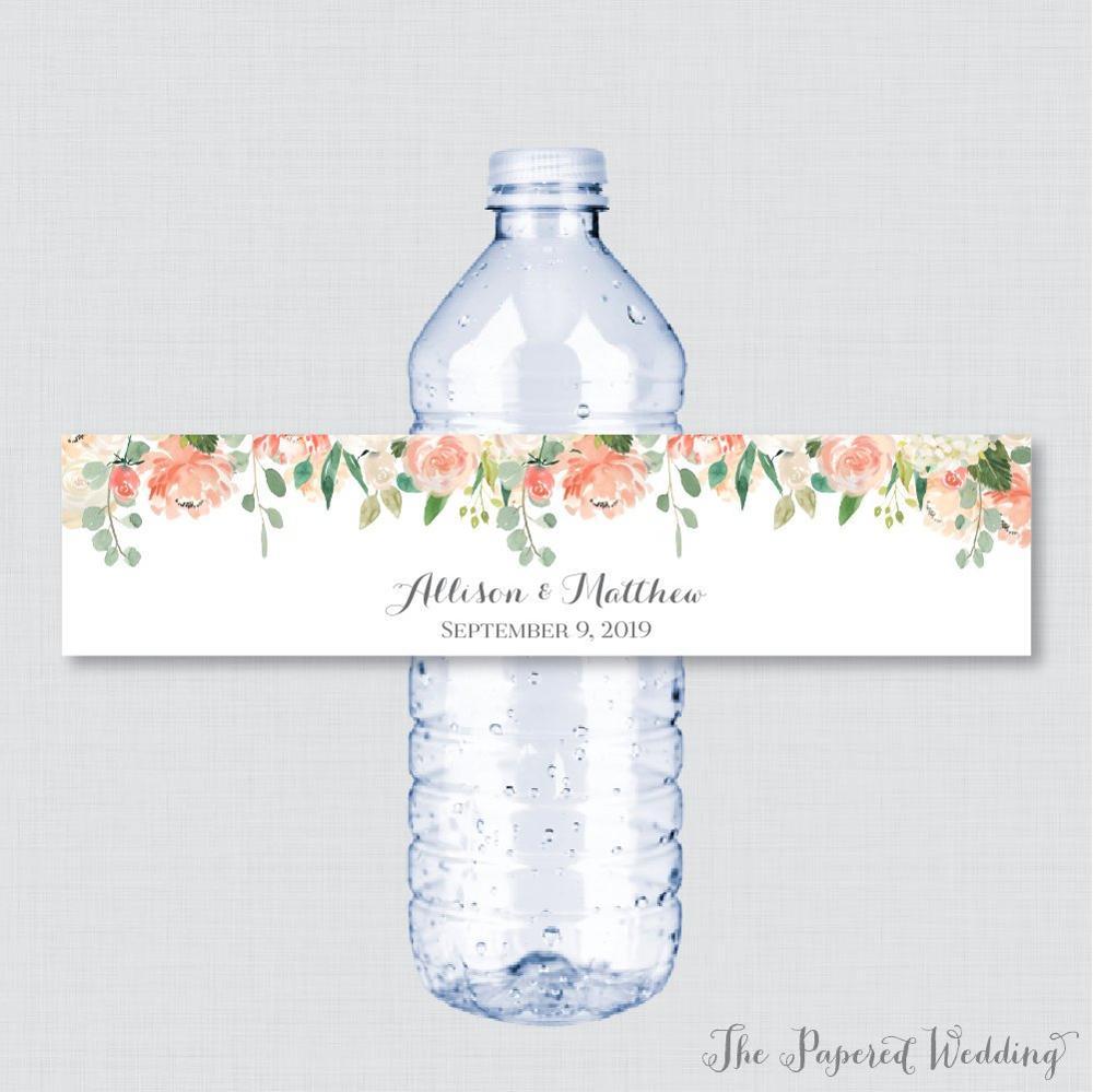 Us 10 8 24 Pieces Custom Red Blue Flower Wedding Water Bottle Labels Personalized Birthday Anniversary In Party Diy
