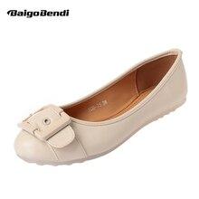 Elegant Buckle Belt Flats Woman Ballet Flat Loafer Shoes OL Comfort Office Flat Shoes Slip On Casual Driving Shoes недорого