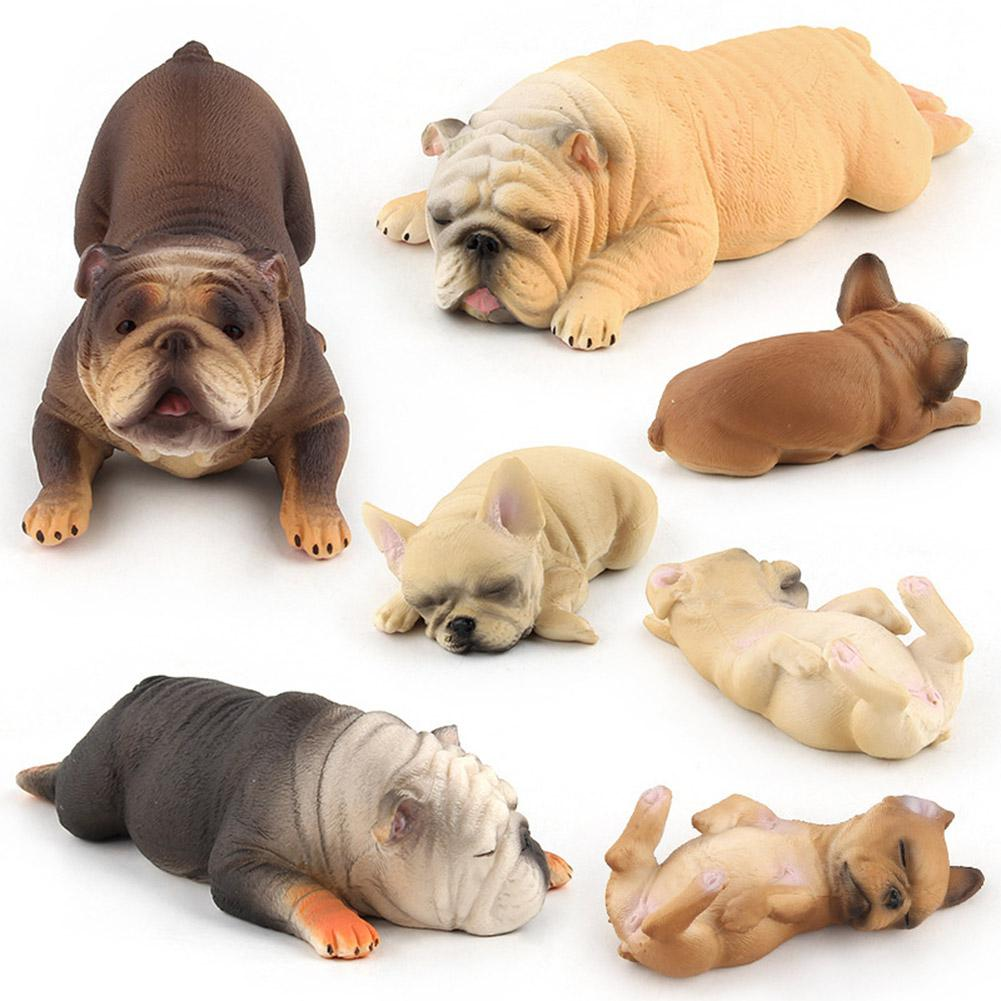Cute Simulate Sleepling Bulldog Shape Toy Decoration Simulation Kneeling Bulldog Bully Dog Model Hand-made Ornaments Toy