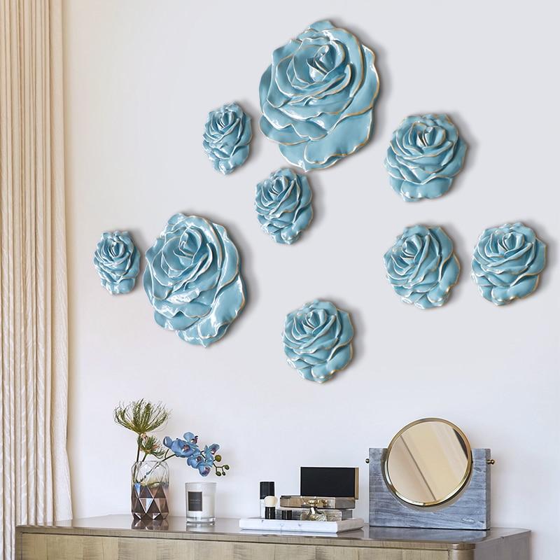 Adesivos de Parede Artesanato para Sala Decoração da Parede para Casa Resina Rosa Flor Mural Estar Quarto tv Fundo Decorativa 3d