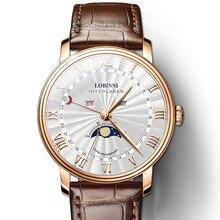 592416765 LOBINNI الرجال الساعات سويسرا العلامة التجارية الفاخرة ووتش الرجال الياقوت  للماء القمر المرحلة reloj hombre ساعة