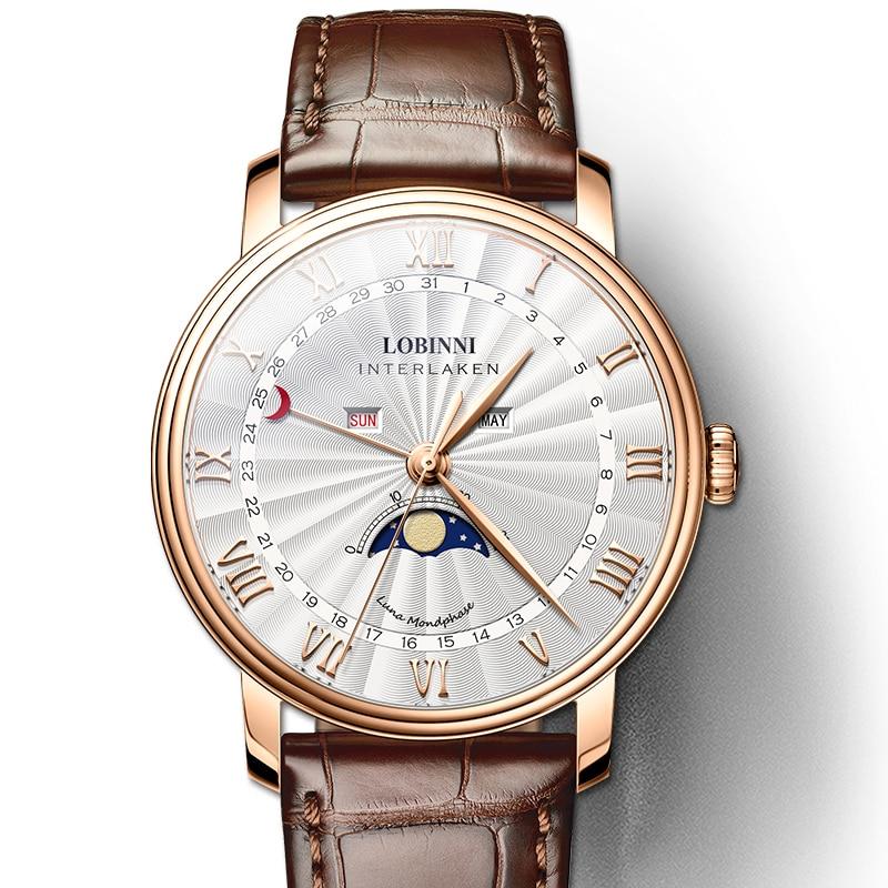 LOBINNI hombres relojes suiza marca de lujo reloj hombre zafiro impermeable Luna fase reloj hombre Japón Miyota movimiento L3603M-in Relojes de cuarzo from Relojes de pulsera    1