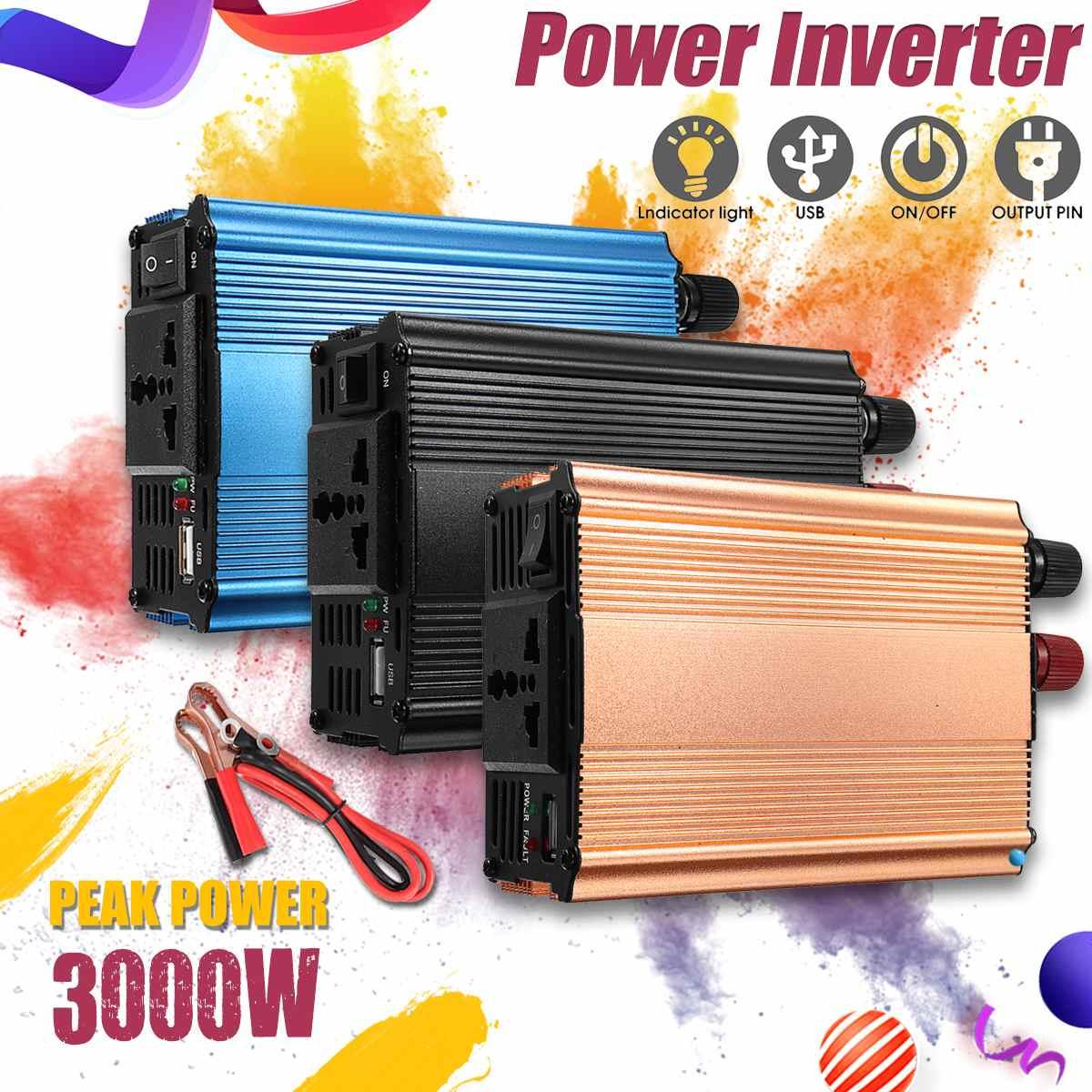 KROAK Inverter 12V 220V 3000W Pea Car Power Inverter Voltage Transformer Converter 12 220 Charger Solar Inversor 12V 220VKROAK Inverter 12V 220V 3000W Pea Car Power Inverter Voltage Transformer Converter 12 220 Charger Solar Inversor 12V 220V
