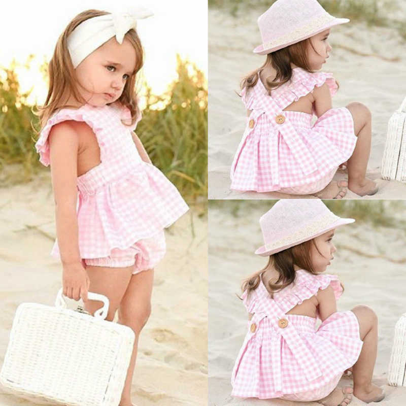 2Pcs Pink Plaid Girls Clothes Summer Sleeveless Ruffle Tops Dress+Shorts Toddler Girl Clothes Kid Outfits Set Baby Girl Clothes
