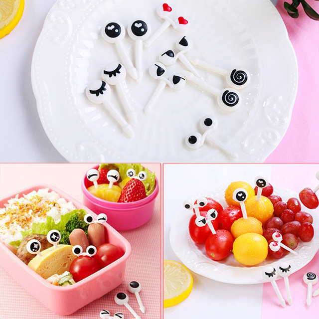 a75dccfc68e2 US $0.9 5% OFF|Lunch Box Decorative Plastic Eye Fruit Fork Food Grade Bento  Accessories Toothpicks Fruit Fork Mini Reusable 10PCS/Set Kids-in Forks ...