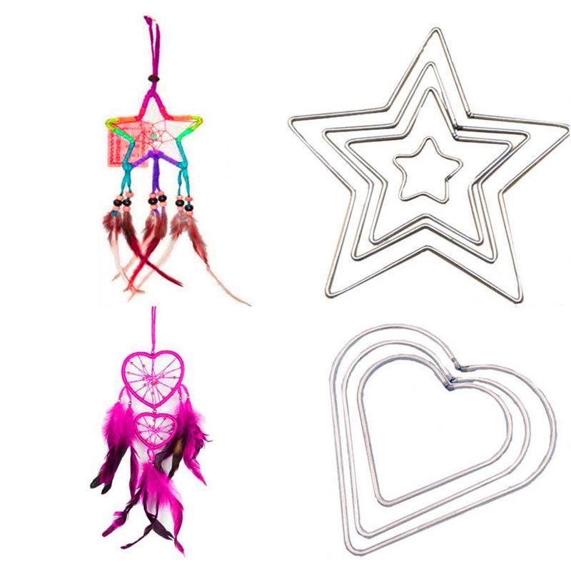 DIY Welded Iron Ring Hoop Dream Catcher Material Heart Five-Pointed Star Shaped Hoop Metal Ring bracelet pendant anklet