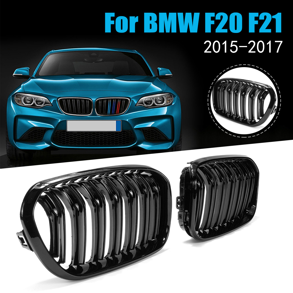 Pair Gloss Matt Black Double Slat Line M Color Front Kidney Grill Grille Car Styling Racing Grill For BMW F20 F21 1 Series 15-16 цена 2017