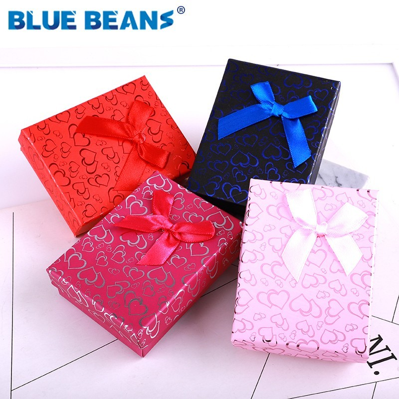 Heart Jewelry Necklace Earrings Ring Packaging Box Hot Sell Paper Gift Box Organizer Sponge Boxes Gift Bangles Bow Gold 2019 New