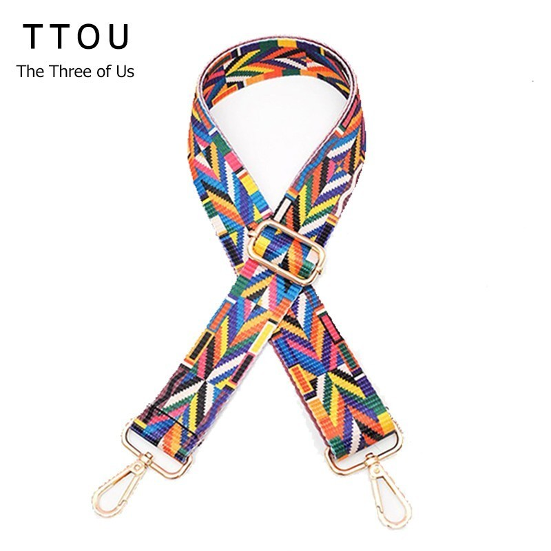 TTOU Women New handbags Strap Woven Design National Gold Buckle Cotton Bag Straps New Trendy Easy Holding Shoulder Straps 2018 new handbags strap classic design embroidery gold buckle canvas bag straps new trendy easy holding shoulder straps qn203